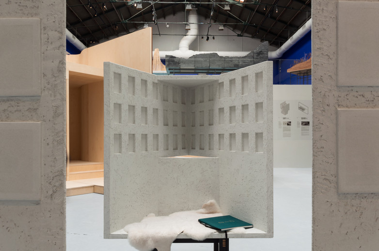A bench pavilion designed by Clancy Moore as part of Venice Biennale 2018