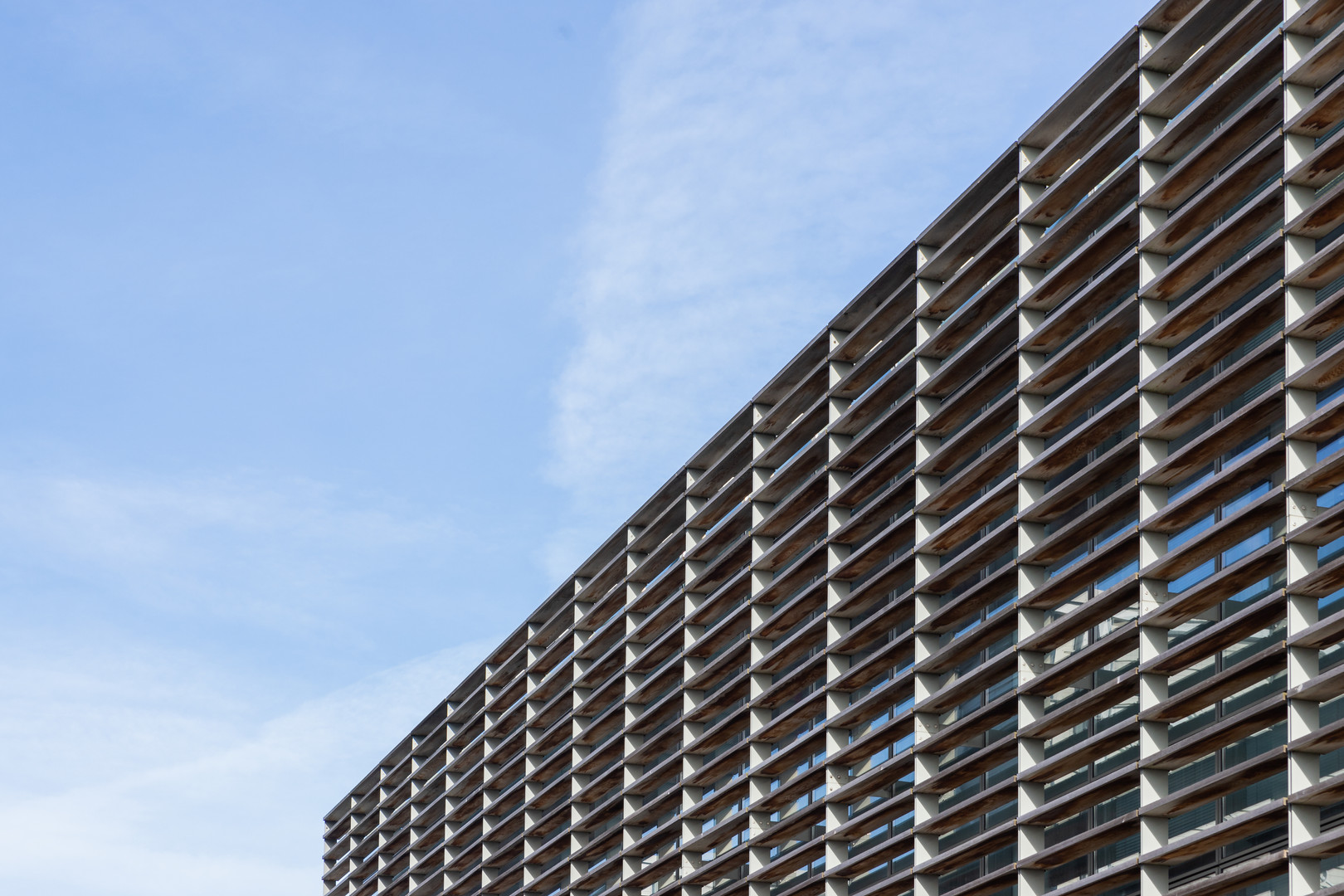 Detail of louvered facade of National Institute for Cellular Biotechnology at DCU, Dublin