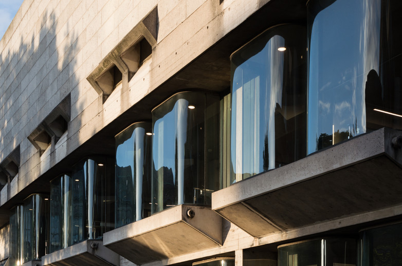 Curved glass windows  and granite cladding of Berkely Library, Trinity College, Dublin