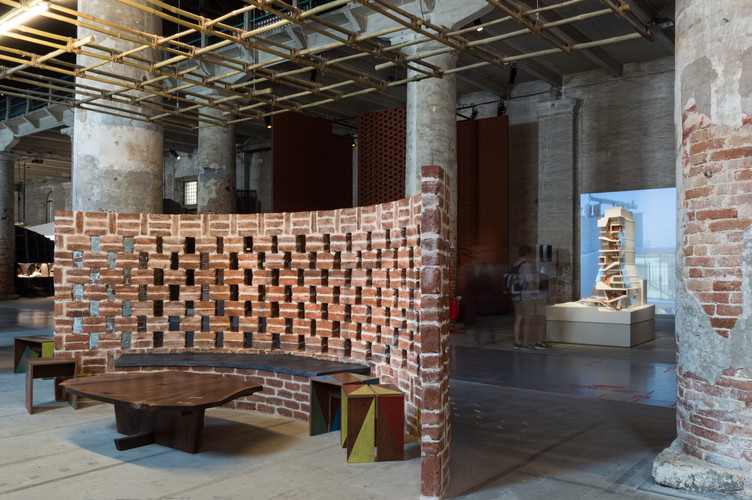 Full scale brick wall model at the pavilion designed by Case Design at the Venice Biennale 2018