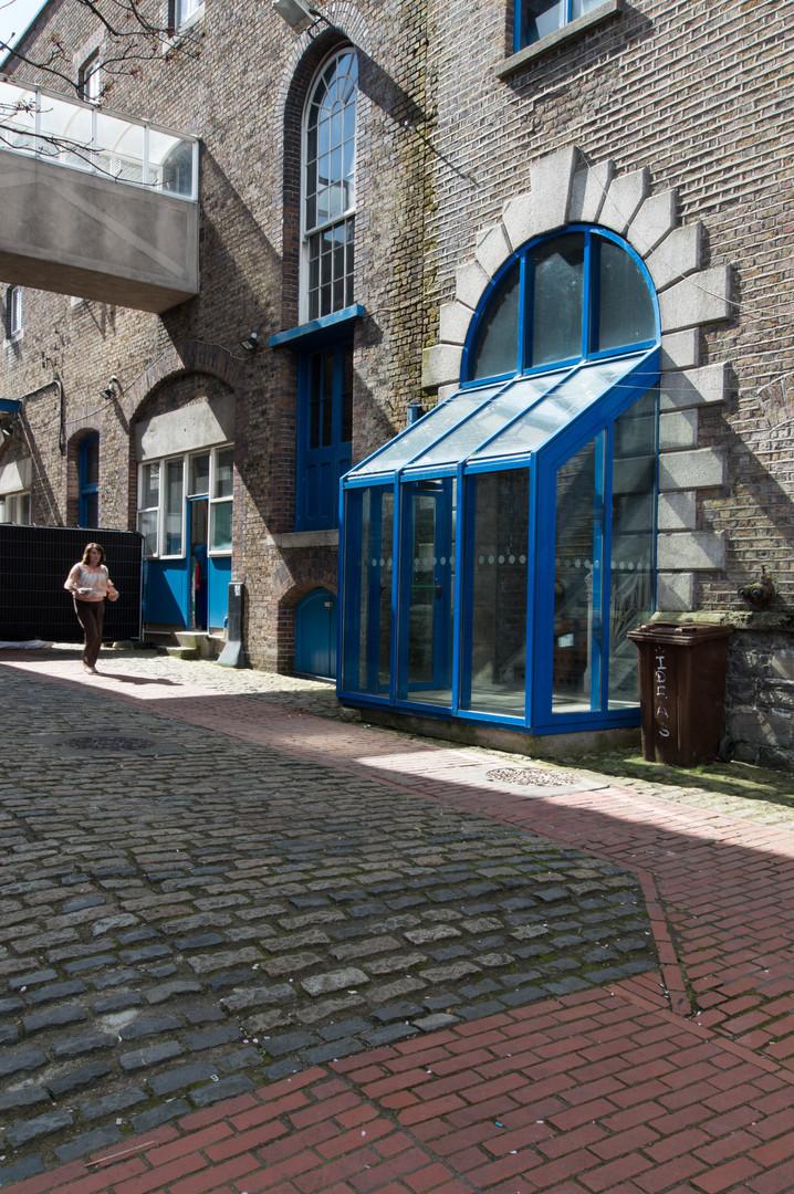 Glazed entrance into NCAD campus, Dublin