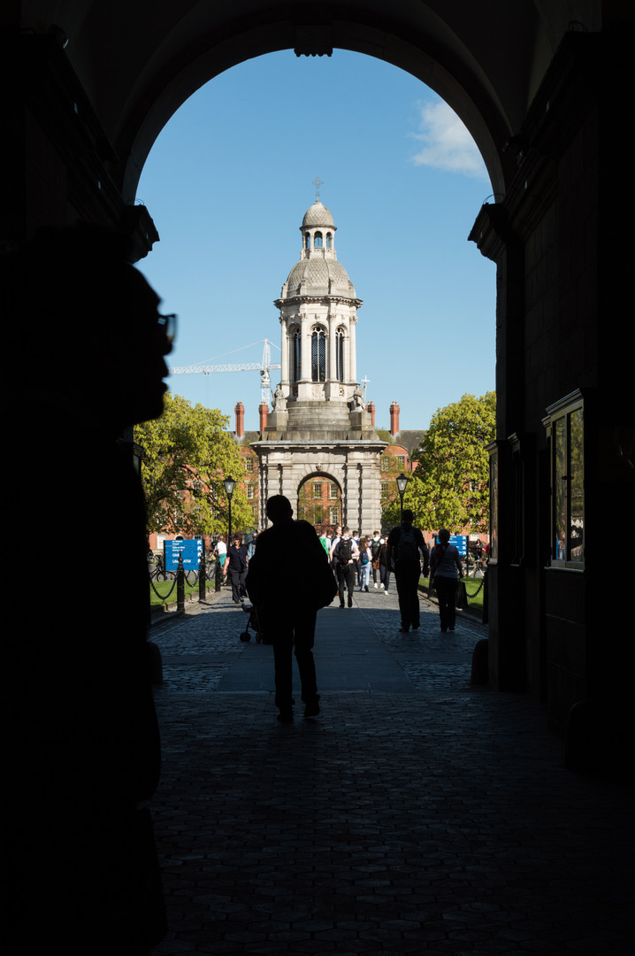 View from entrance of the campanile of Trinity College, Dublin