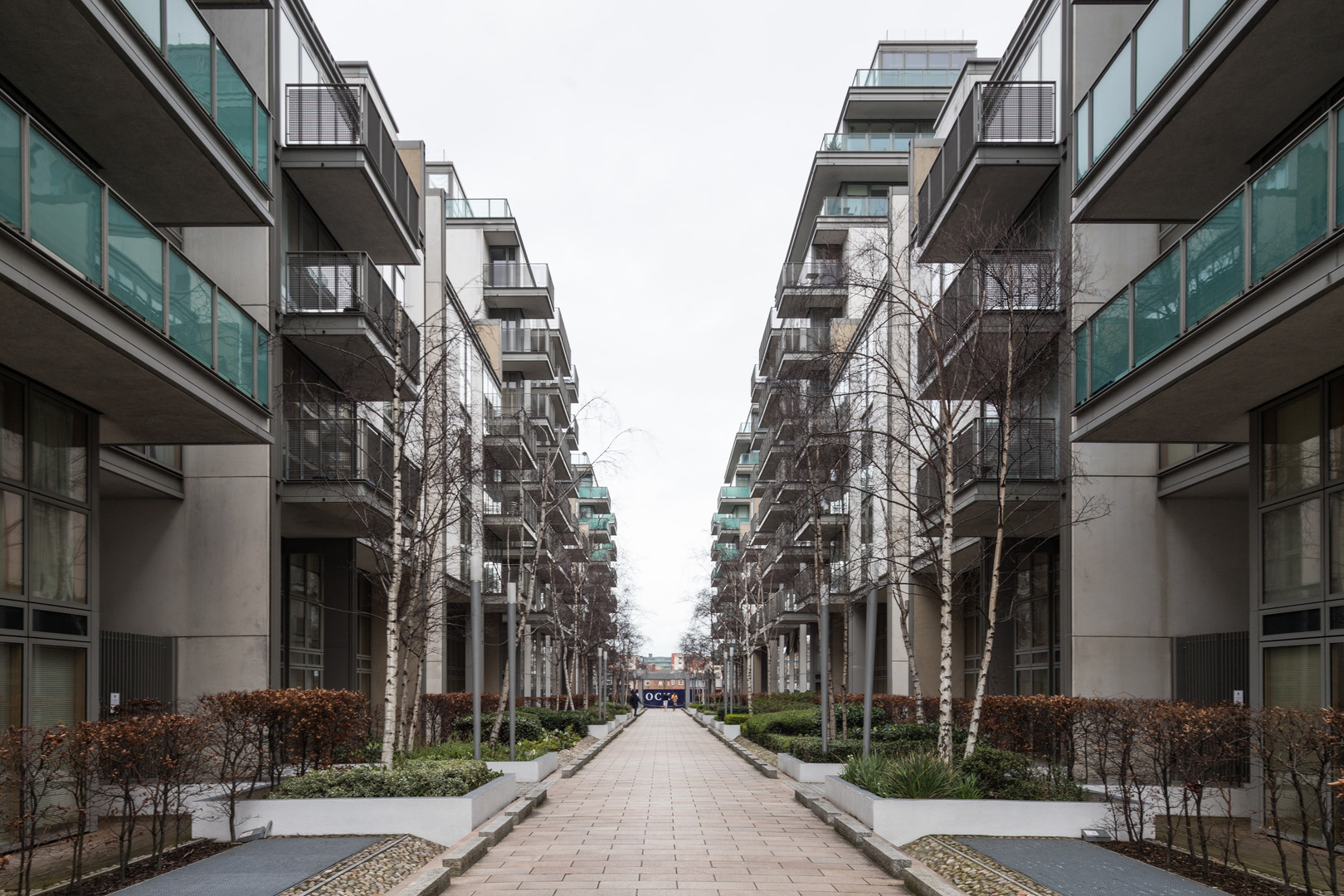 External view of the Spencer Dock Apartments in Dublin from internal street