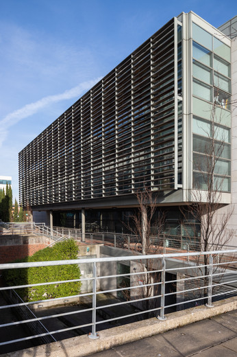 View of louvered facade of National Institute for Cellular Biotechnology at DCU, Dublin