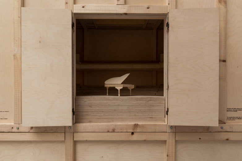 Model of Piano inside door of pavilion designed by Carr Cotter & Naessens at the Venice Biennale 2018