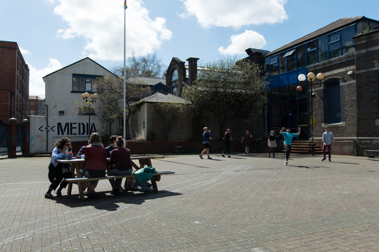 Students in the courtyard in NCAD campus, Dublin