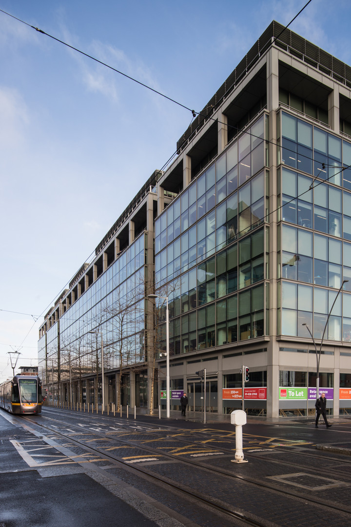 External view of the Spencer Dock Building R in Dublin from Linear Park