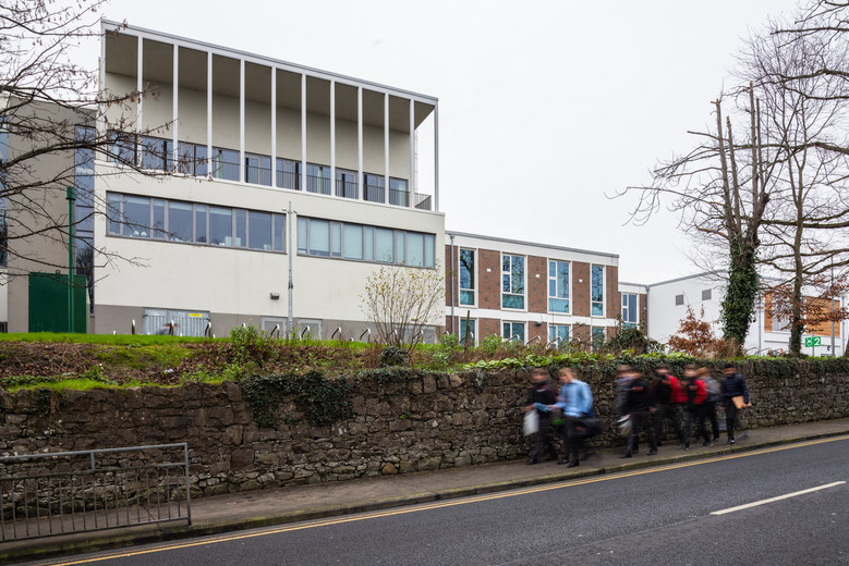 View from Shelbourne Road of students walking past Ardscoil Ris, Limerick
