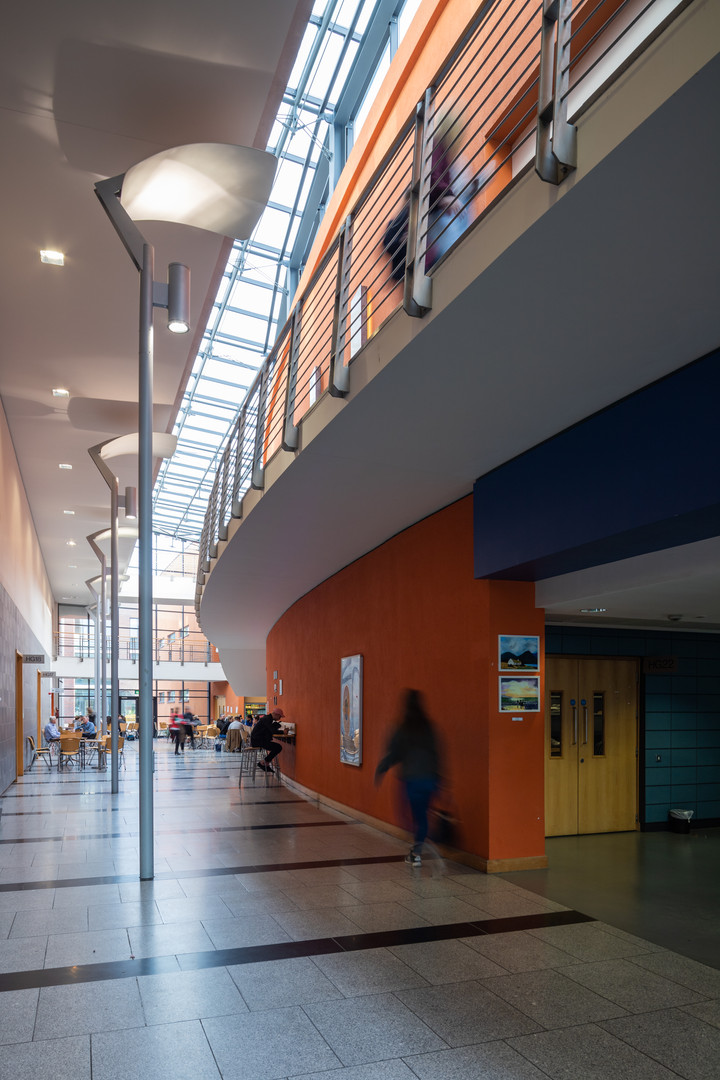 The interior atrium of the School of Nursing in DCU, Dublin