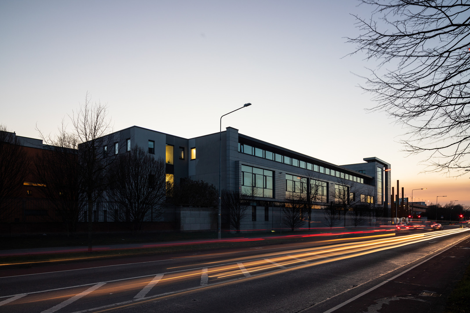 Exterior view at dusk of the School of Nursing in DCU, Dublin