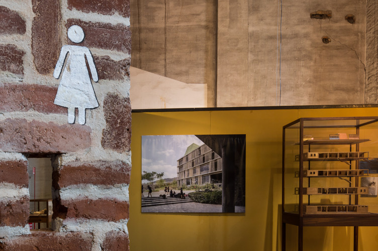 Models and photos at the pavilion designed by Case Design at the Venice Biennale 2018