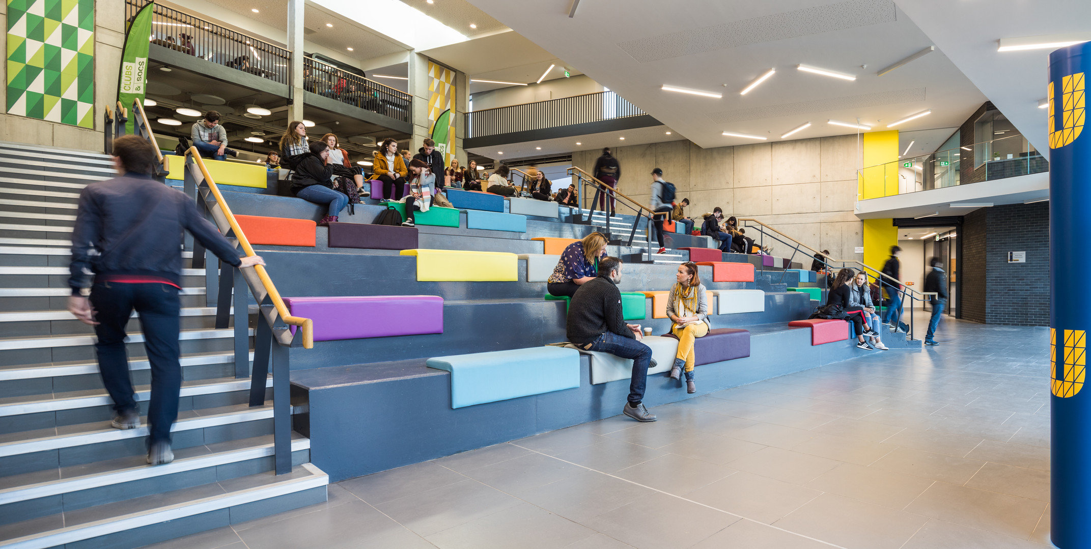 Students sitting in the auditorium of the Student Hub in DCU, Dublin