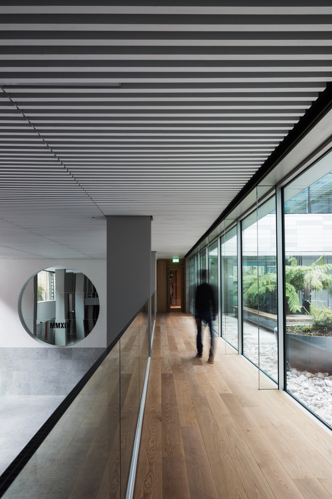 Mezzanine level of Interior Hall with view to external courtyard of Hanging Gardens in Limerick