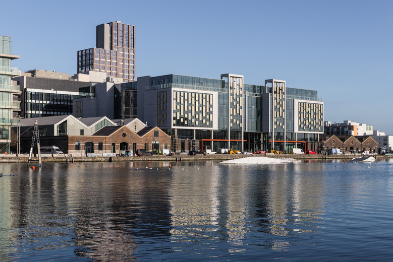 View of Capital Dock and the Reflector Building from across the Grand Canal in Dublin