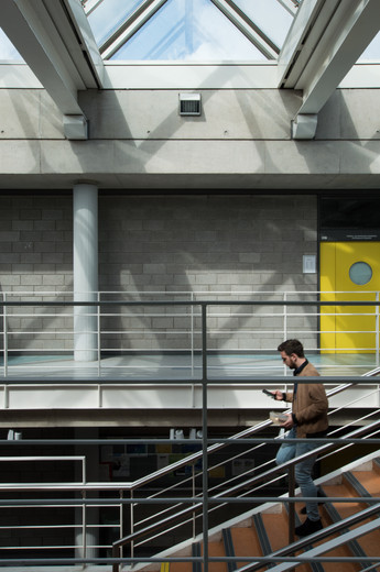 Internal view of the stairs in the central atrium of the Engineering Building in UCD, Dublin