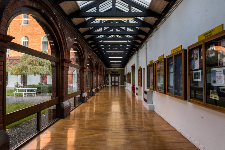 Interior timber arcade of of main campus development of St.Pats, DCU campus, Dublin