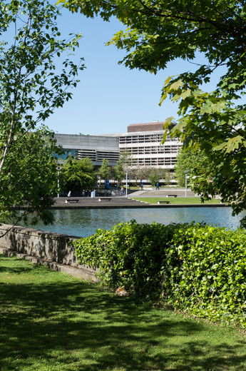 Framed view through trees of the Library at UCD, Dublin