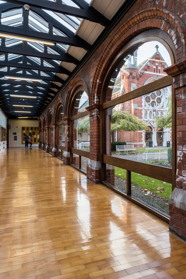 Interior timber arcade of of main campus development of St.Pats, DCU campus, Dublin