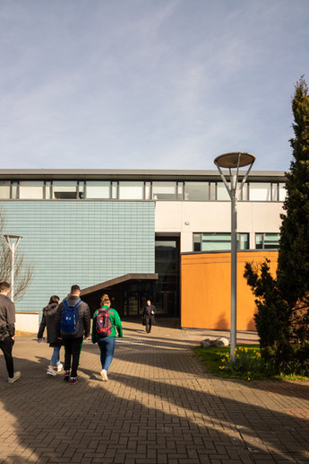 Students walking towards the entrance of the School of Nursing in DCU, Dublin