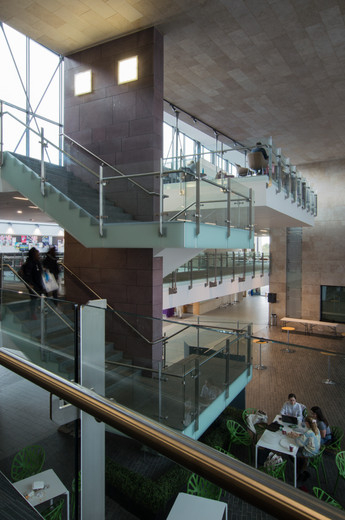Interior view of stairs of Sutherland School of Law, UCD, Dublin