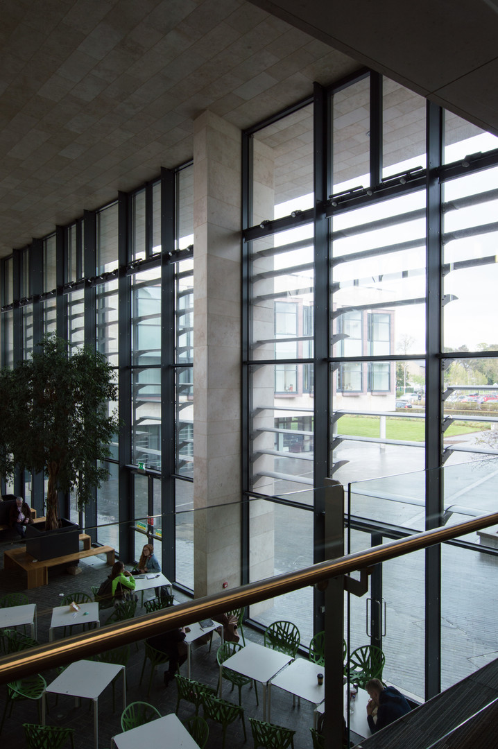 Interior view of glazing of Sutherland School of Law, UCD, Dublin