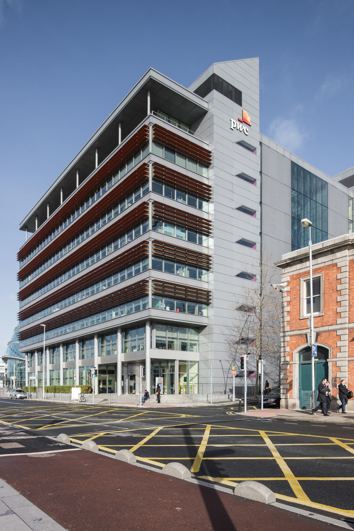 External view of the Spencer Dock PWC office building in Dublin from North Wall Quay