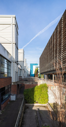 The Biomedical Diagnostics Institute in DCU, Dublin seen between the Computer Applications Building and the NICB
