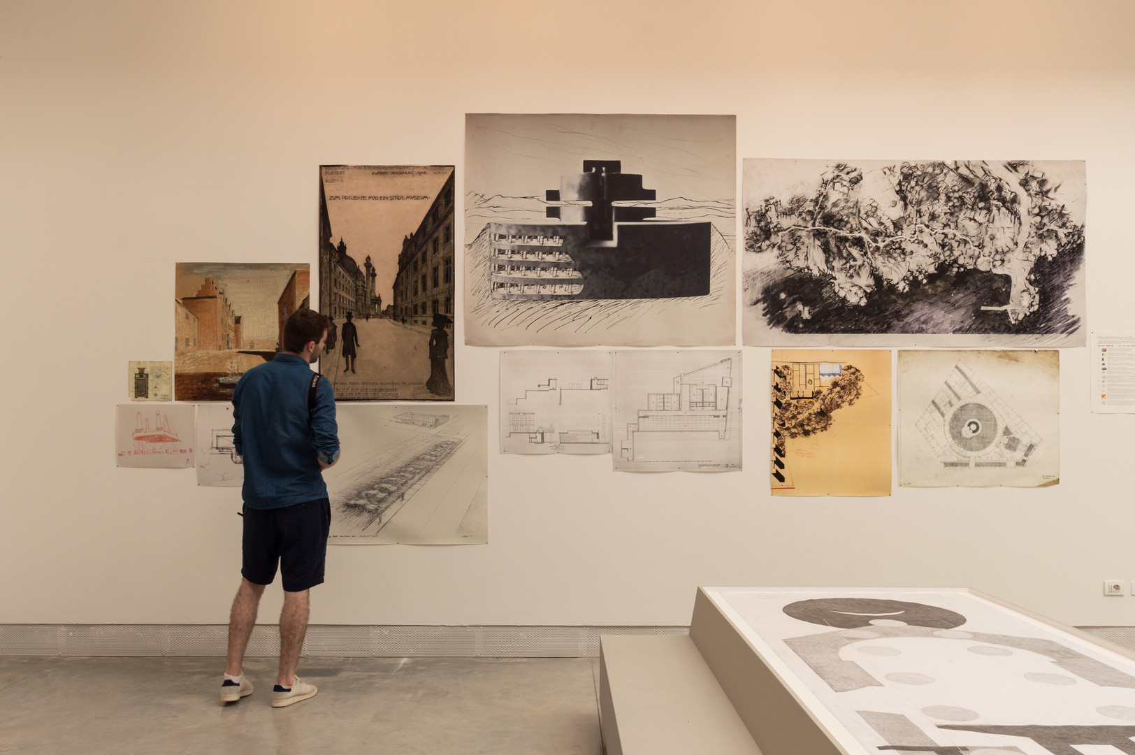 Man looking at architectural Drawings on a wall curated by Elizabeth Hatz Architects at the Venice Biennale 2018
