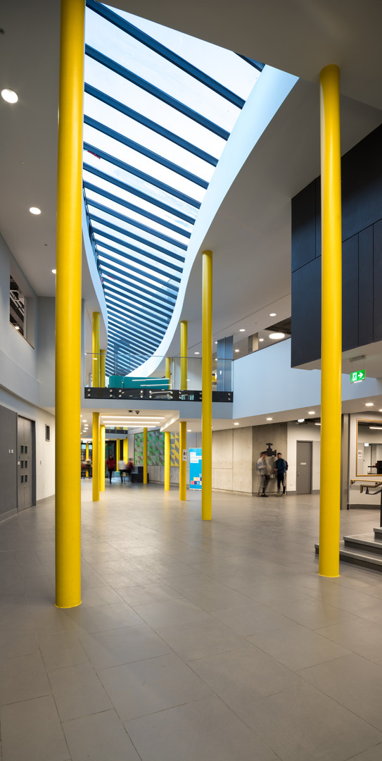 Interior entrance corridor of the Student Hub in DCU, Dublin