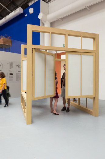 People move through Moving pavilion by Kevin Donovan, Ryan W. Kennihan at the Venice Biennale 2018