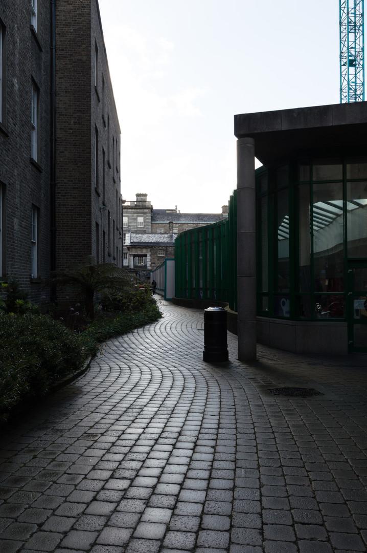 External view of glazed corridor of Aras an Phiarsaigh at Trinity College, Dublin