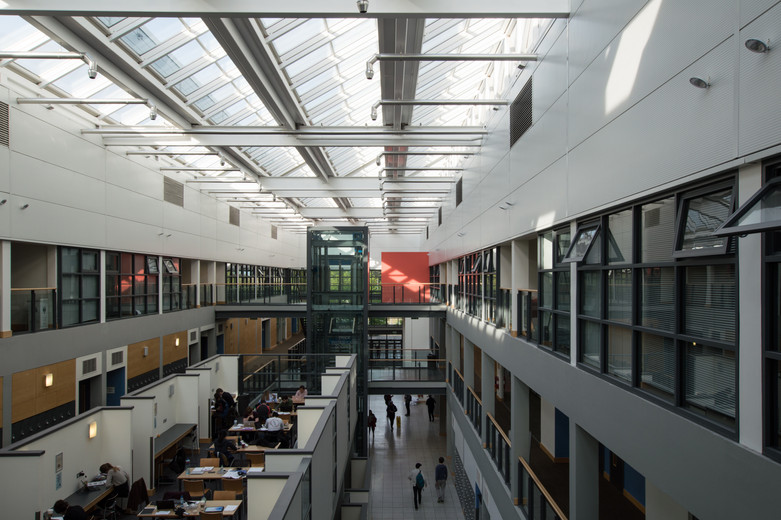 View from the second floor of the interior atrium of the Quinn School of Business, UCD, Dublin