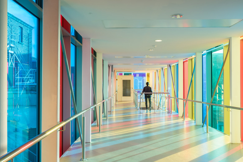 Multi colored glazing of corridor of main campus development of St.Pats, DCU campus, Dublin