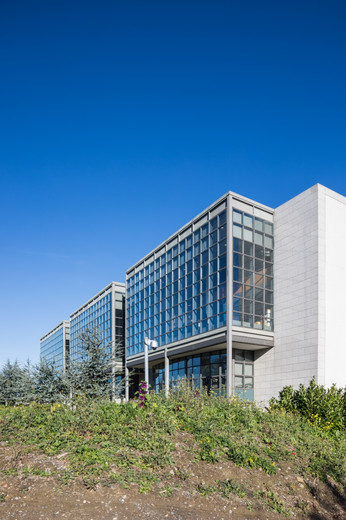 Exterior of glazed boxes of the Library & Information Centre at DCU, Dublin