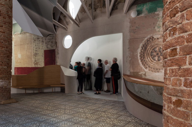 Group gathered inside Flores & Prats pavilion at the Venice Biennale 2018