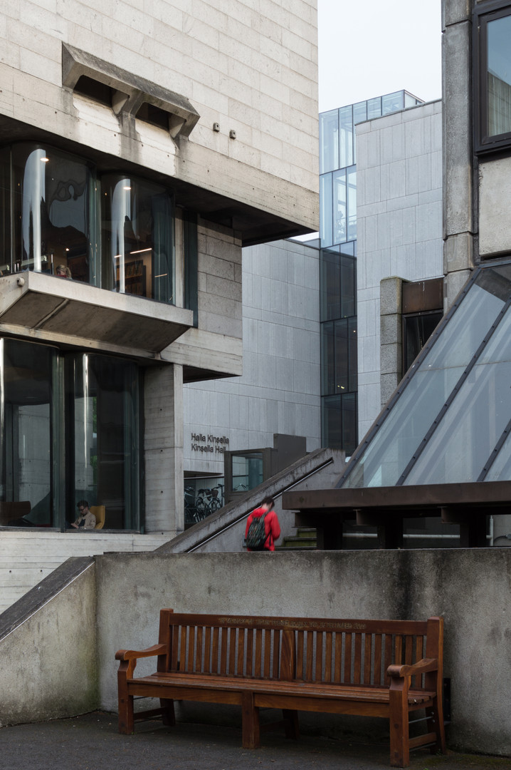 Curved glass windows  and granite cladding of Berkeley Library, Trinity College, Dublin