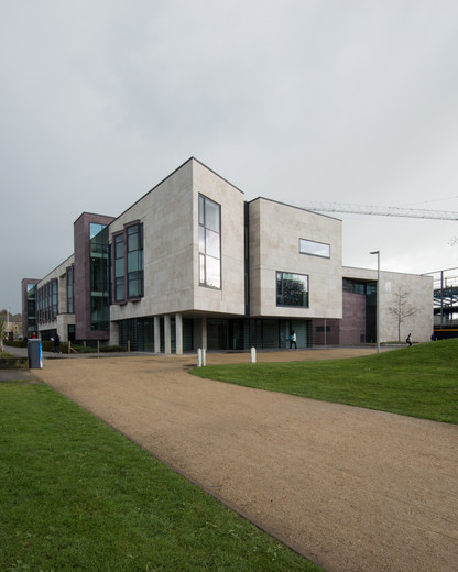 External view of approach to the Sutherland School of Law, UCD, Dublin