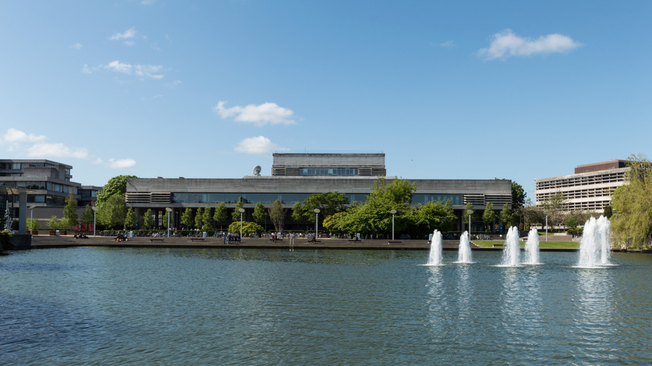 View across the lake of the Library at UCD, Dublin