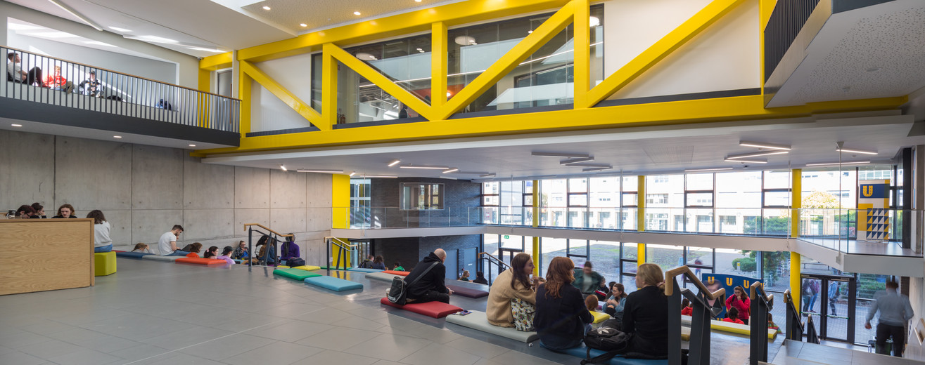 View from the top of students sitting in the auditorium of the Student Hub in DCU, Dublin