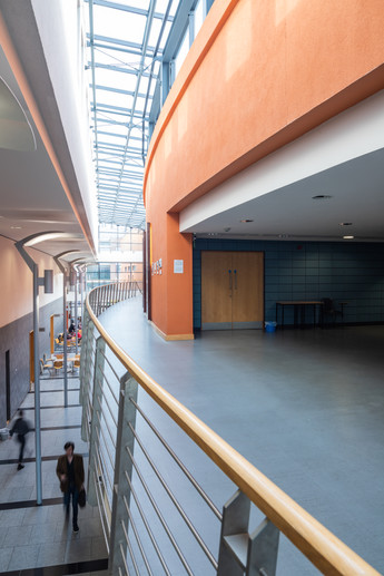 The first floor of the interior atrium of the School of Nursing in DCU, Dublin