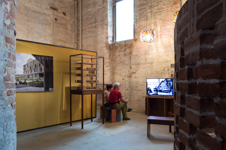 Photo, models and video display at the pavilion designed by Case Design at the Venice Biennale 2018