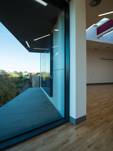 Interior of large window of Student Hub in DCU, Dublin