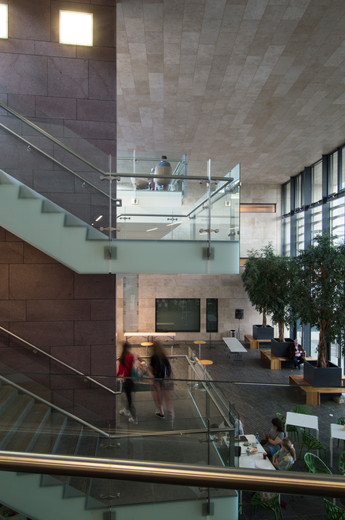Interior view of stairs of external view of Sutherland School of Law, UCD, Dublin