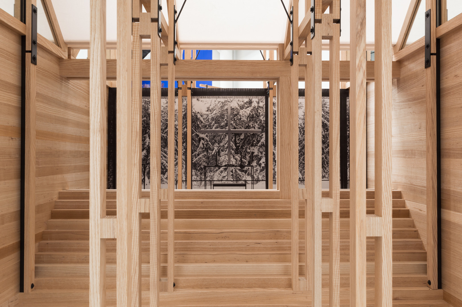Interior of timber pavilion designed by Steve Larkin Architects at the Venice Biennale 2018
