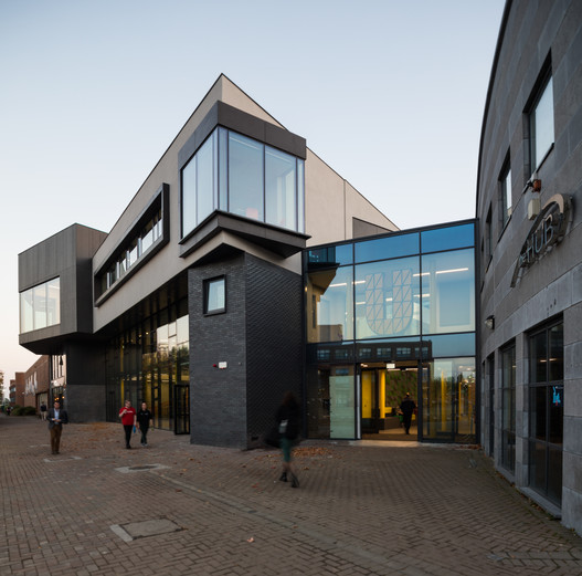 Entrance to the Student Hub at DCU, Dublin at dusk