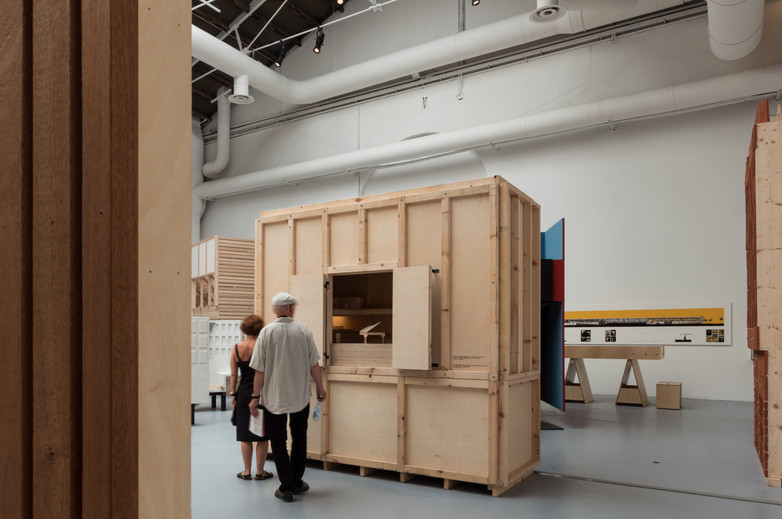 Man looking at pavilion designed by Carr Cotter & Naessens at the Venice Biennale 2018