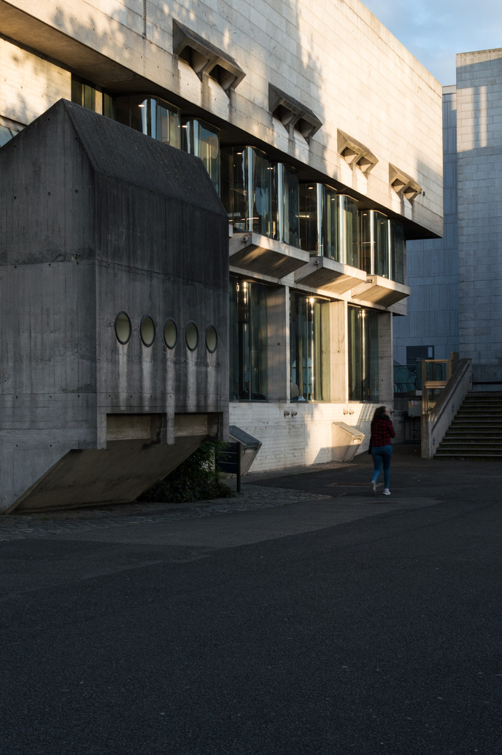 Concrete, granite and curved glass windows of Berkeley Library, Trinity College, Dublin