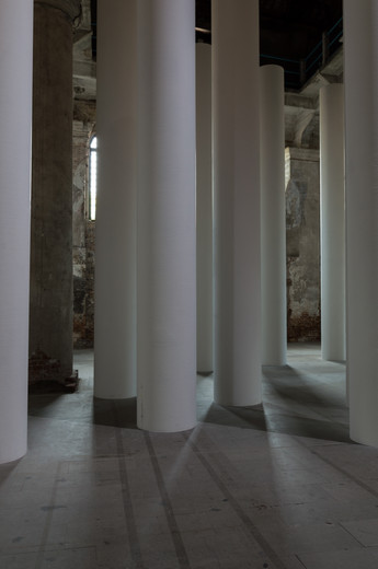 White columns of the Valerio Olgiati designed pavilion at the Venice Biennale 2018