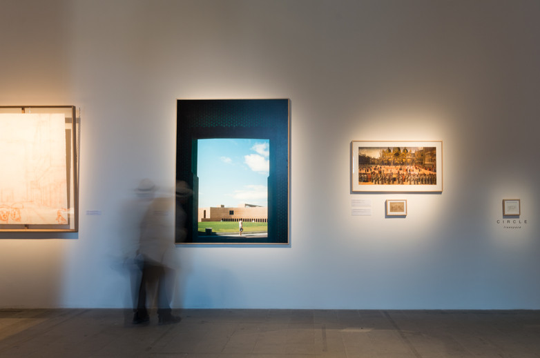 Photos hung on wall at pavilion designed by de Blacam and Meagher Architects at the Venice Biennale 2018