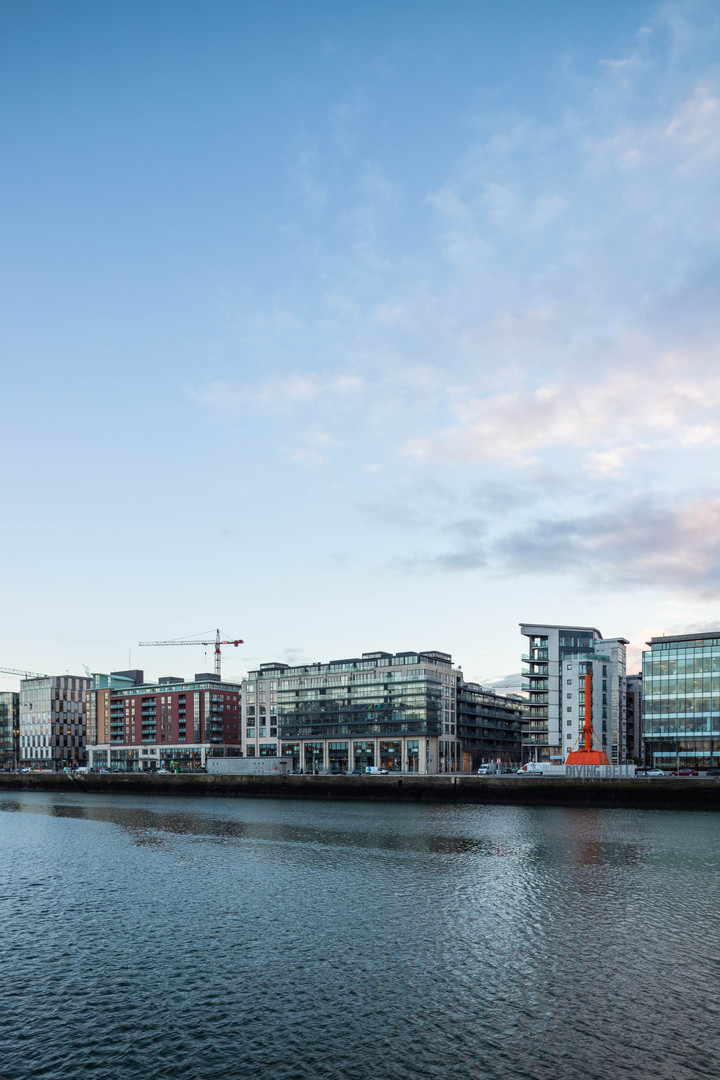 Hanover Quay from across the Liffey in Dublin